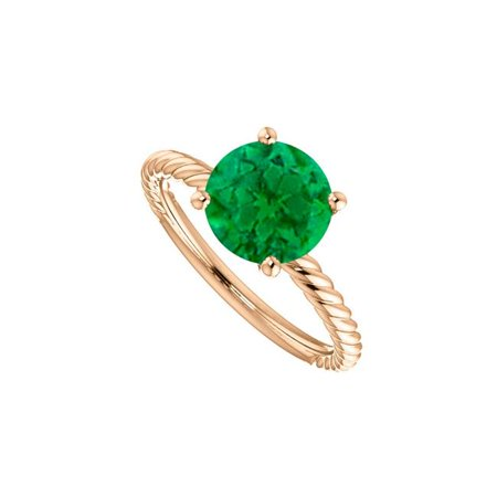 2 CT 14K Rose Gold Vermeil Emerald Solitaire Designer Rope Ring, Size 6