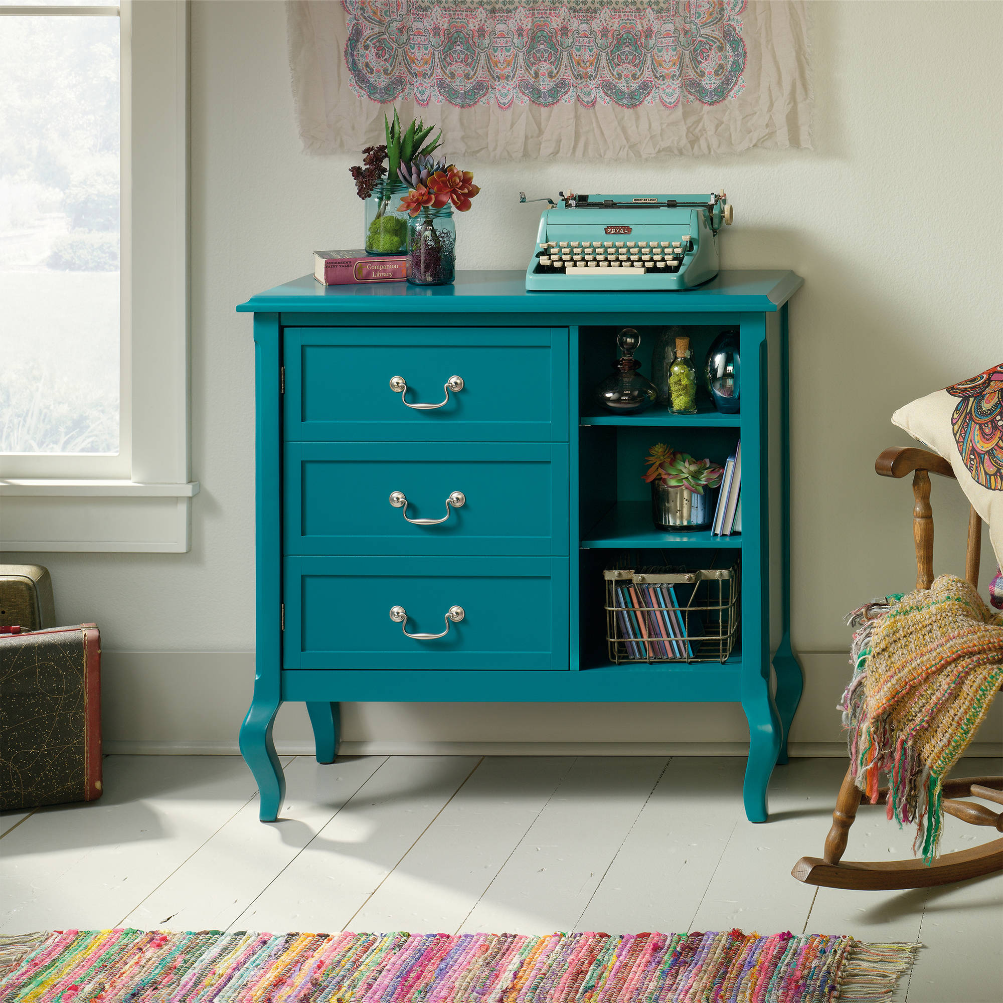 Sauder Eden Rue Accent Storage Cabinet, Peacock Finish