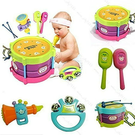 5pcs Novelty Kids Roll Drum Musical Instruments Band Kit Children Toy Baby Gift Set