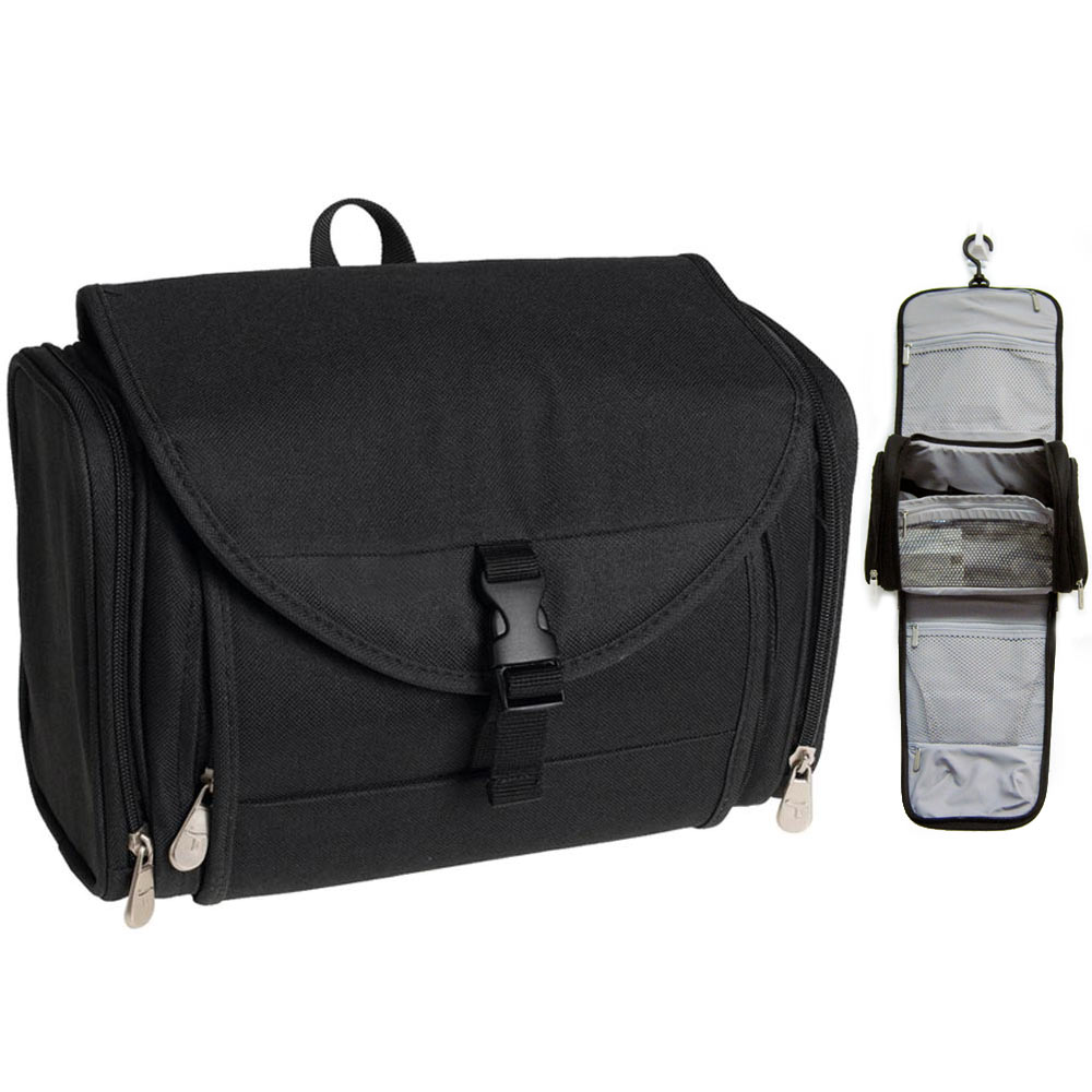 Travelon Travel Toiletry Hanging Bag Kit Black Case Organizer Shaving Beauty New