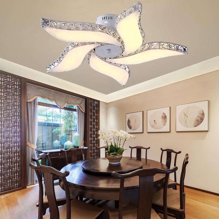 Modern Crystal Flower Chandelier Elegant Ceiling Light LED Pendant Lamp by Yellow