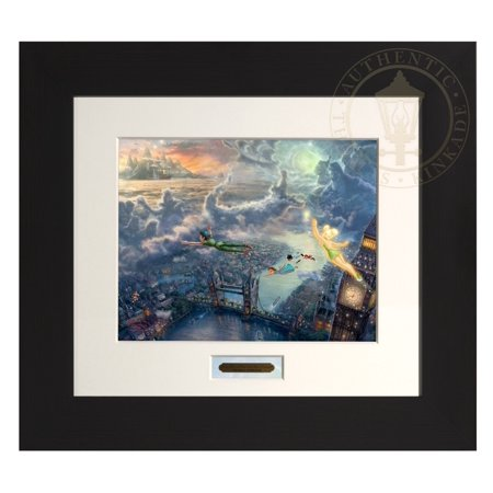 Thomas Kinkade Tinker Bell and Peter Pan Fly to Neverland - Modern Home Collection (Espresso Frame) (Tinkerbell And Peter Pan)