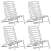 FAGINEY Folding Beach Chair 4 pcs Plastic White
