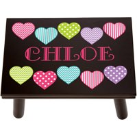 Personalized Happy Hearts Step Stool, Available in 3 Finishes
