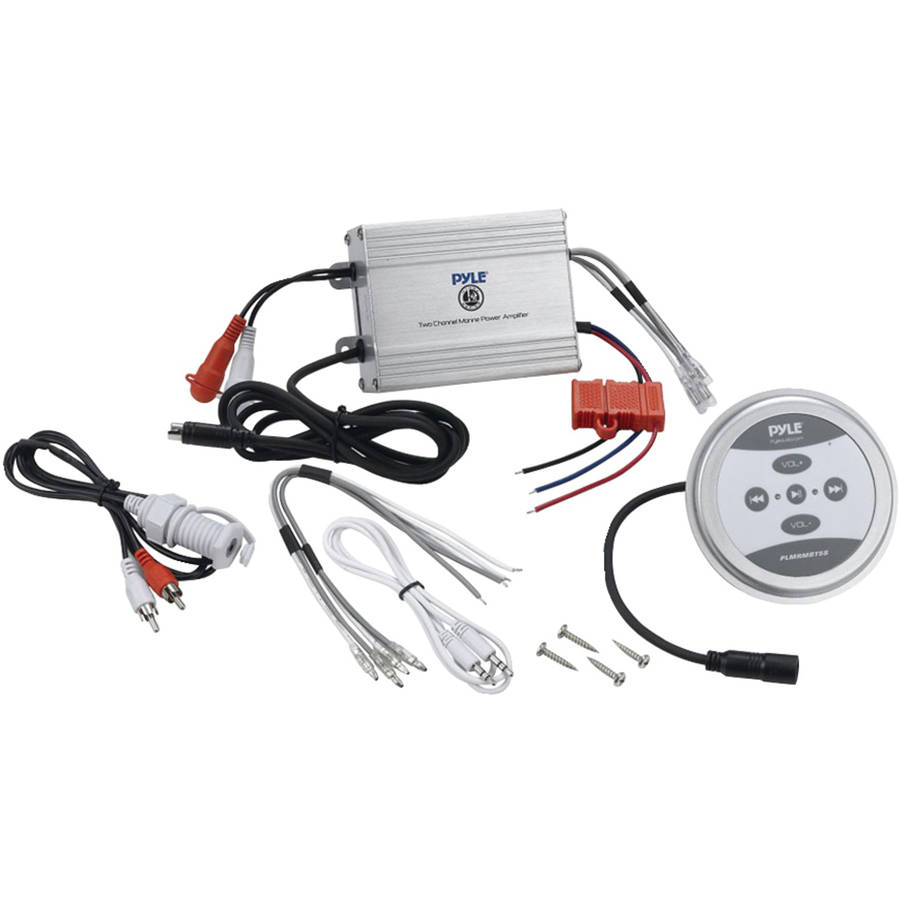 Pyle Hydra Series 2-Channel 600-Watt Bluetooth Water-Resistant Class AB Marine Amp, Plmrmbt5s