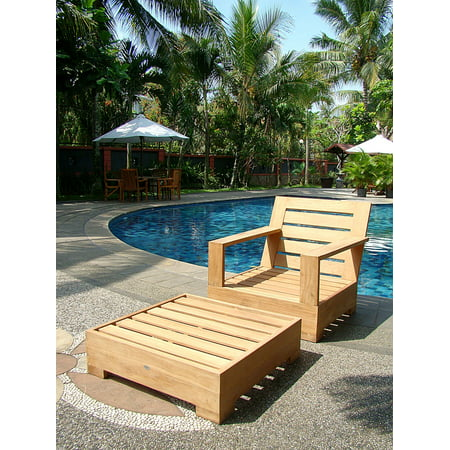 Astonishing Wholesaleteak Outdoor Patio Grade A Teak Wood 2 Piece Teak Lounge Chair Set Lounge Chair With Ottoman Furniture Only Leveb Collection Wmsslv5 Onthecornerstone Fun Painted Chair Ideas Images Onthecornerstoneorg