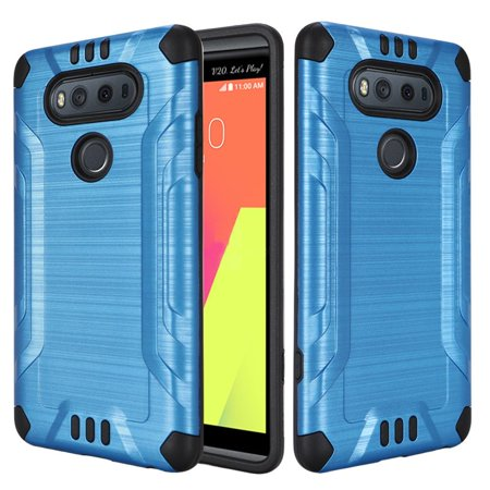 LG V20 Case - Wydan Slim Brushed Metal Texture Shockproof Combat Phone Cover Blue on