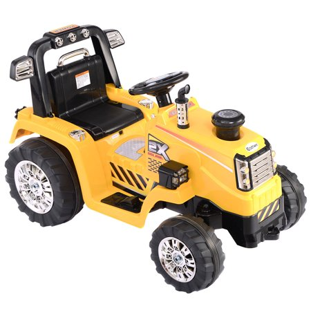 Costway 12V Battery Powered Kids Ride On Tractor Electric Toys W  Mp3 Led Lights Yellow