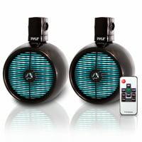 PYLE PLMRWB858LE - Waterproof Rated Marine Tower Speakers - Wakeboard Subwoofer Speaker System with Built-in LED Lights, 8.0'' (480 Watt)