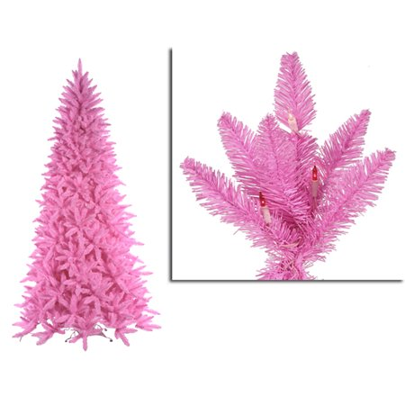 7.5' Pre-Lit Slim Pink Ashley Spruce Christmas Tree - Pink & Clear Lights