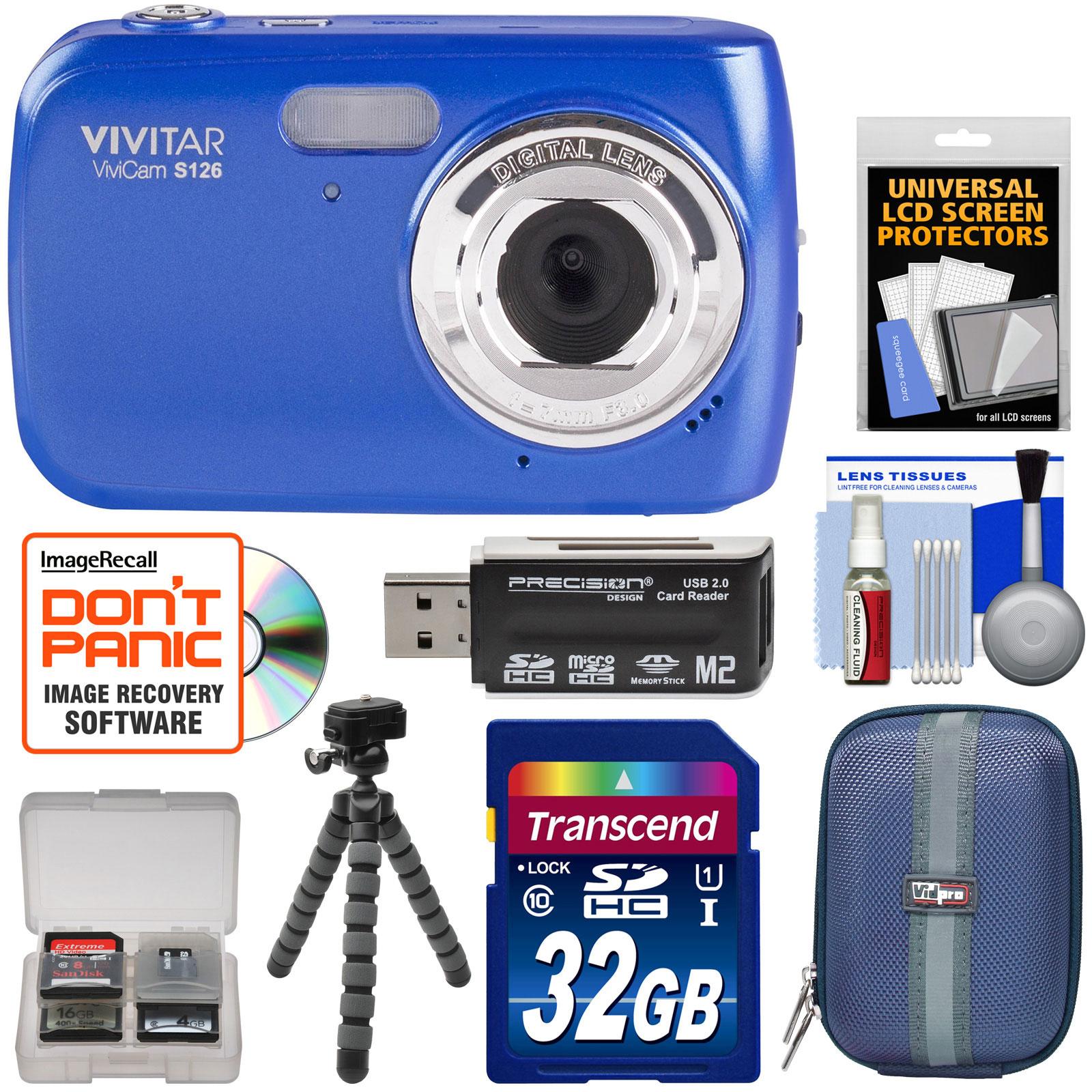 Vivitar ViviCam S126 Digital Camera (Blue) with 32GB Card + Hard Case + Flex Tripod + Reader + Kit