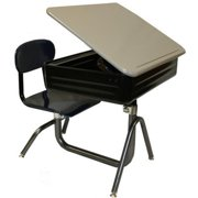 National School Lines QS701-NV-LG Universal Lift Lid Combination Desk With 14-18 inch H Adjustable Seat, Navy Seat -
