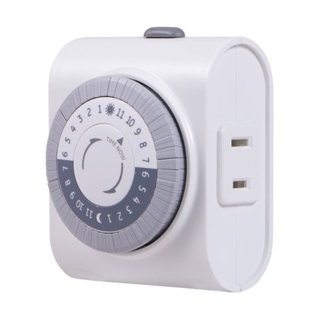 GE 24-Hour Indoor Plug-In Mechanical Timer, 1-Outlet, White, 15076 ()