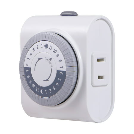 GE 24-Hour Indoor Plug-In Mechanical Timer, 1-Outlet, White, 15076 (Timer Electric)