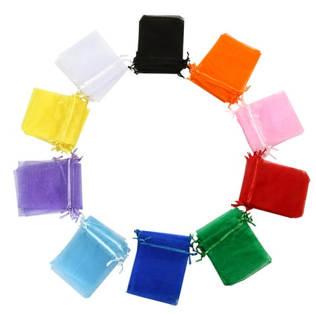 Assorted Gift Bags - TKOOFN 100Pcs Organza Assorted Colors Gift Pouch Bags 4 x 5 Inch for Favors Candy Party