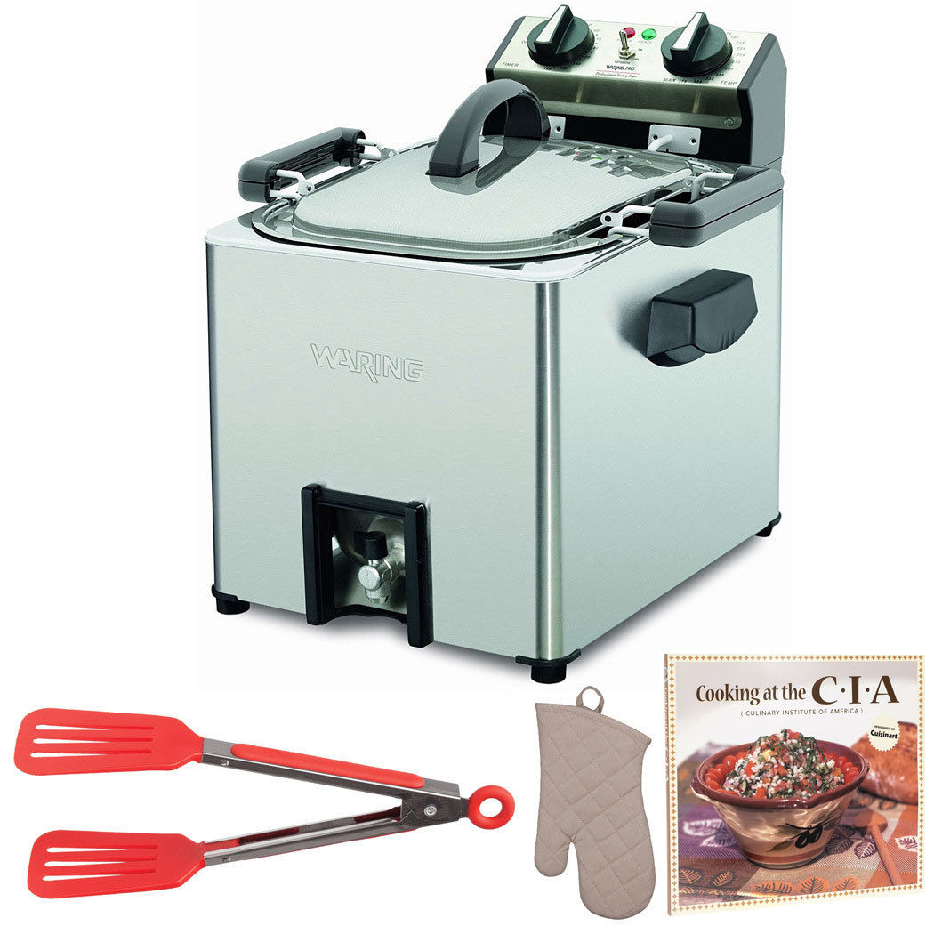 Waring Pro TF200B Rotisserie Turkey Fryer + Cookbook, Oven Mitt and Flipper Tong (Refurbished)