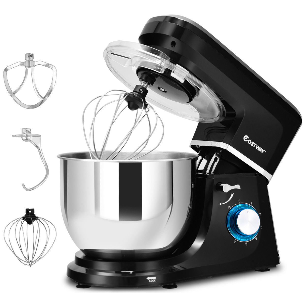 Costway Electric Food Stand Mixer 6 Speed 7.5Qt 660W Tilt-Head Stainless Steel Bowl