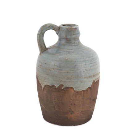 Pack Of 4 Hand Glazed Rustic Vase Stoneware With Curved Handle 1025