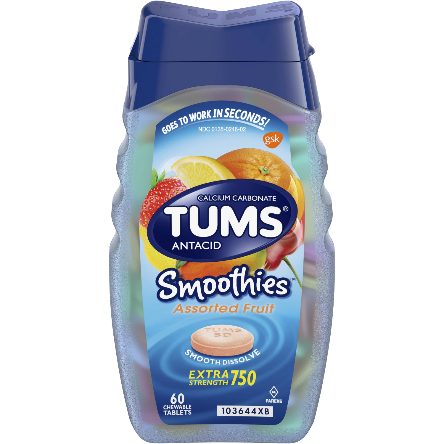 TUMS Antacid Chewable Tablets, Smoothies Assorted Fruit for Heartburn Relief, 60 count