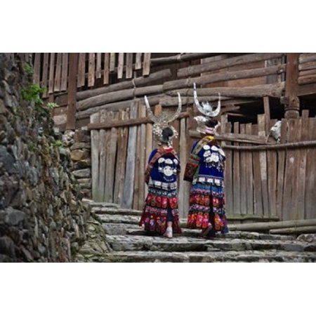 Girls Village (Langde Miao girls in traditional costume in the village Kaili Guizhou China Poster Print by Keren)