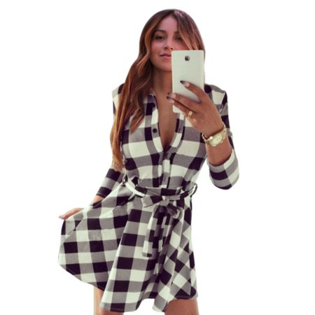 Womens Tartan Plaid Tunic Buttons Crewneck Tops Long Sleeve T Shirt Dresses Ladies Slim Fit Tunics Shirts