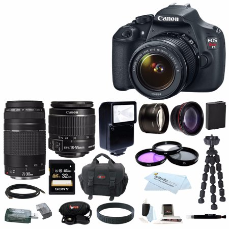 Canon EOS Rebel T5 DSLR Camera with EF-S 18-55mm IS II & 75-300mm Zoom Lens and 32GB Accessory Bundle