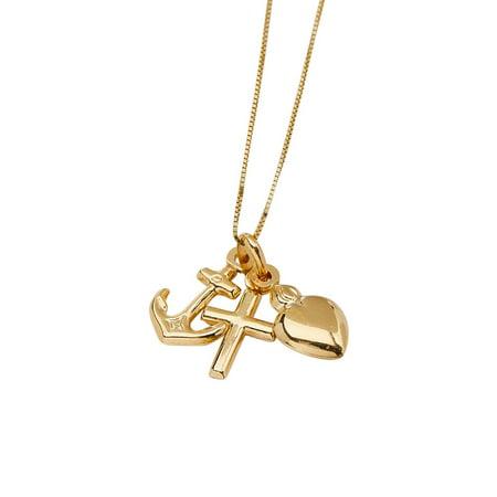 14k Gold Triple Charm Pendant Necklace