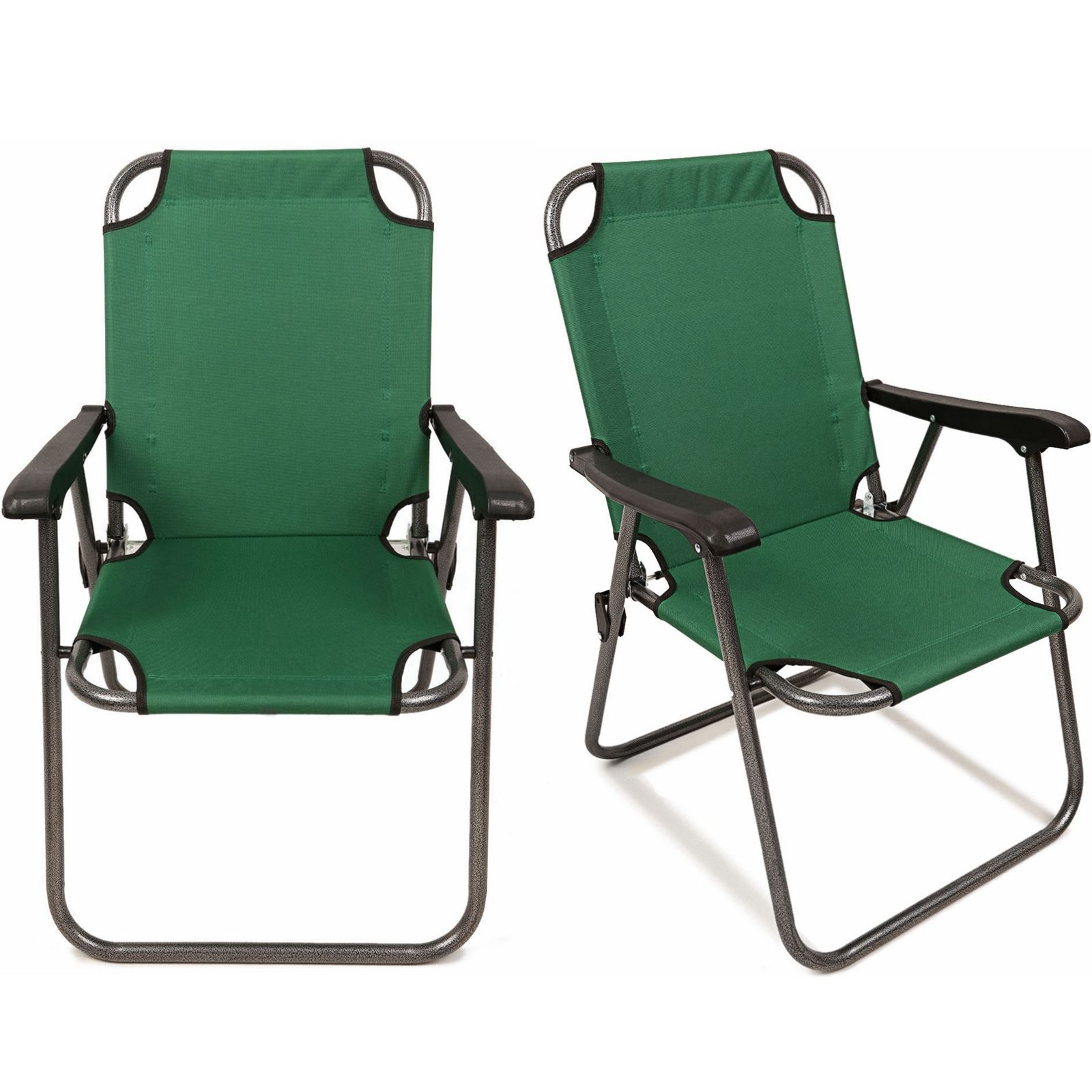 Magshion Deluxe Lightweight Beach Chair Outdoor Camping Hiking With Armrest Chair Set of 2Green