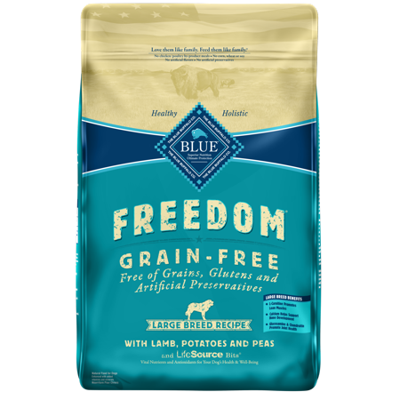 Blue Buffalo Freedom Grain Free Natural Adult Large Breed Dry Dog Food, Lamb, 24-lb