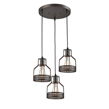 Truelite Industrial 3-Light Dining Room Pendant Rustic Oil-rubbed Bronze Wire Cage Hanging Light Fixture ()