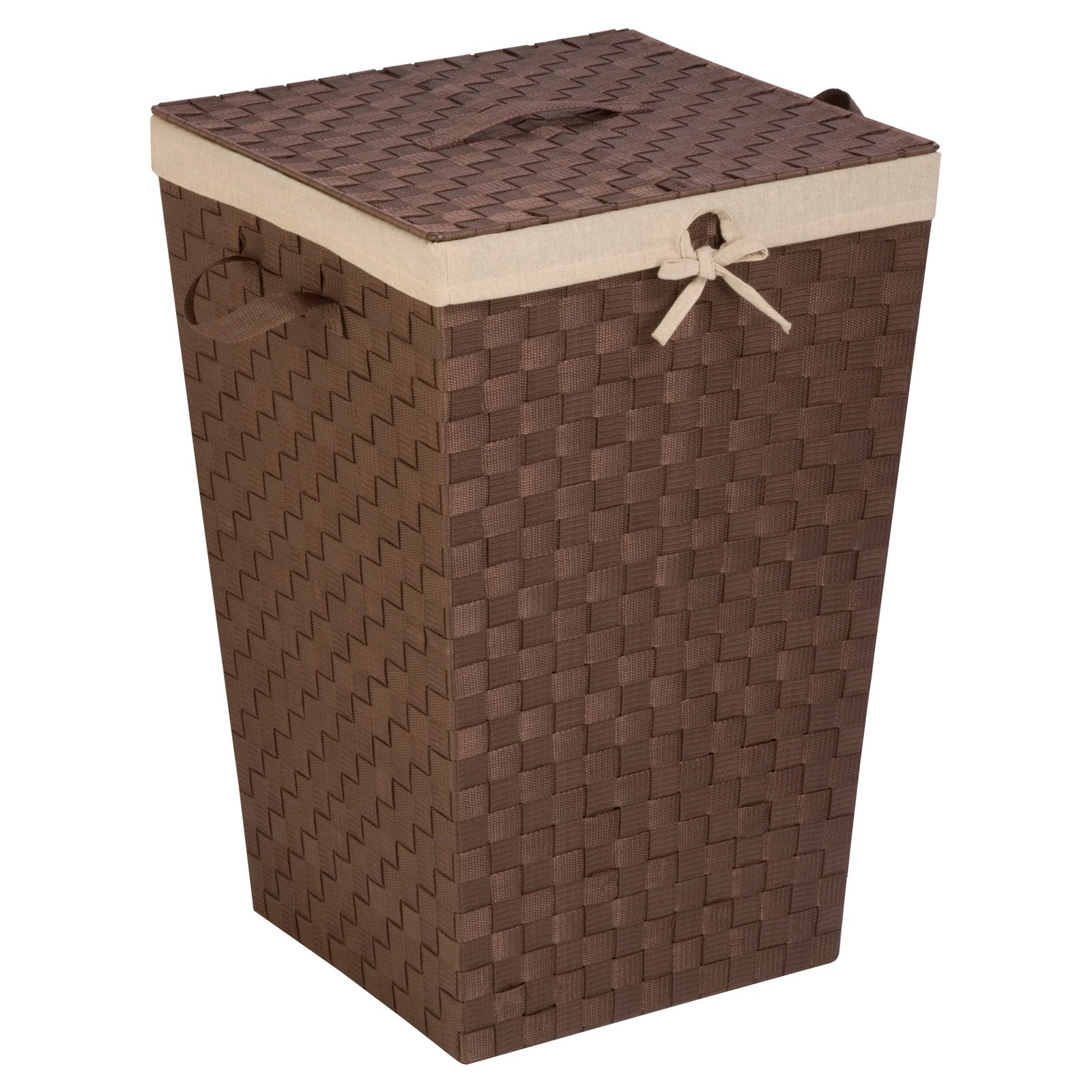 Honey-Can-Do Woven Strap Hamper with Liner and Lid, Java Brown by Generic