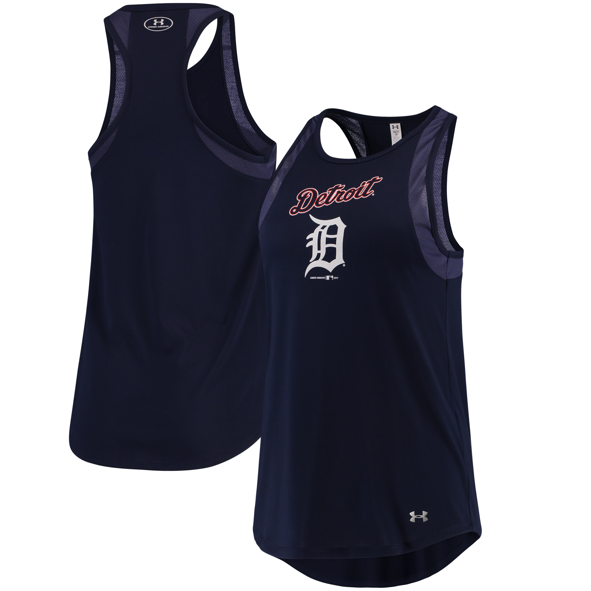 Detroit Tigers Under Armour Women's Pointelle Mesh Performance Tank Top Navy by Gear For Sports/Under Armour