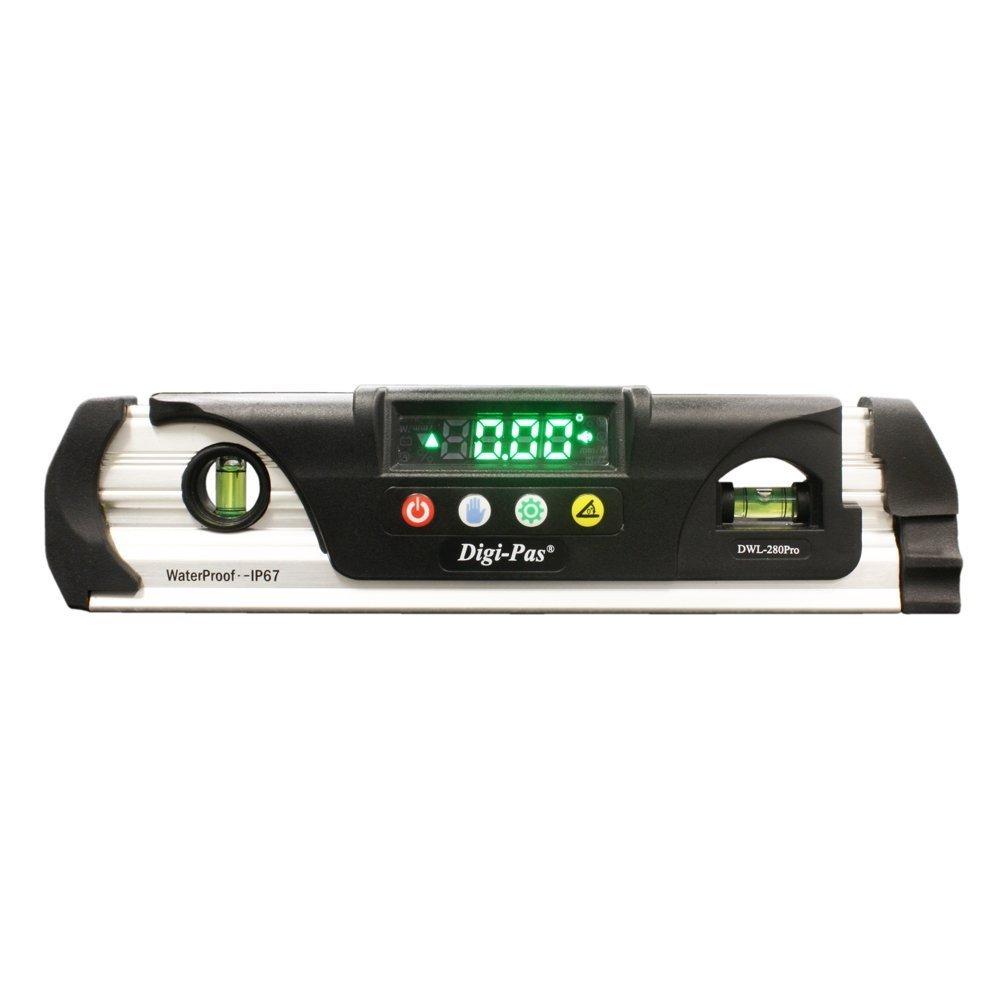 Digi-Pas DWL280PRO Waterproof IP67 Digital Torpedo Level and Protractor, Magnet, LED Bright Display, 9 inch