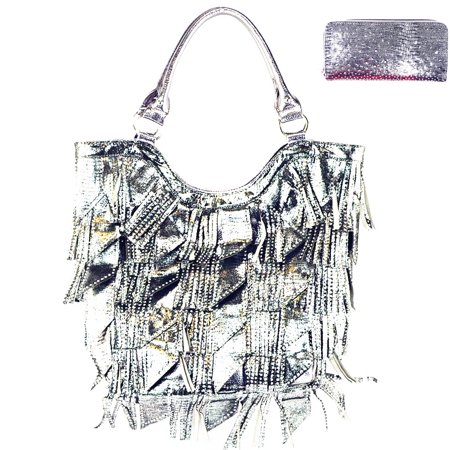 Rhinestone Studded Bling Bling Large Fashion Shoulder Tote Bag/Matching Wallet
