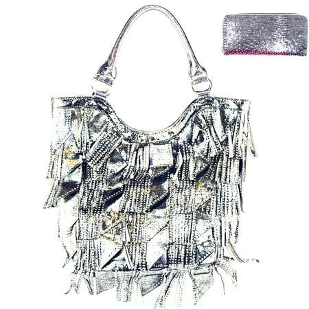 Rhinestone Studded Bling Bling Large Fashion Shoulder Tote Bag/Matching Wallet