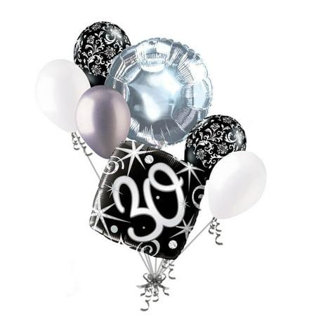 30th Birthday Balloons (7 pc 30th Elegant Happy Birthday Sparkles Balloon Bouquet Black Damask Silver by Jeckaroonie)