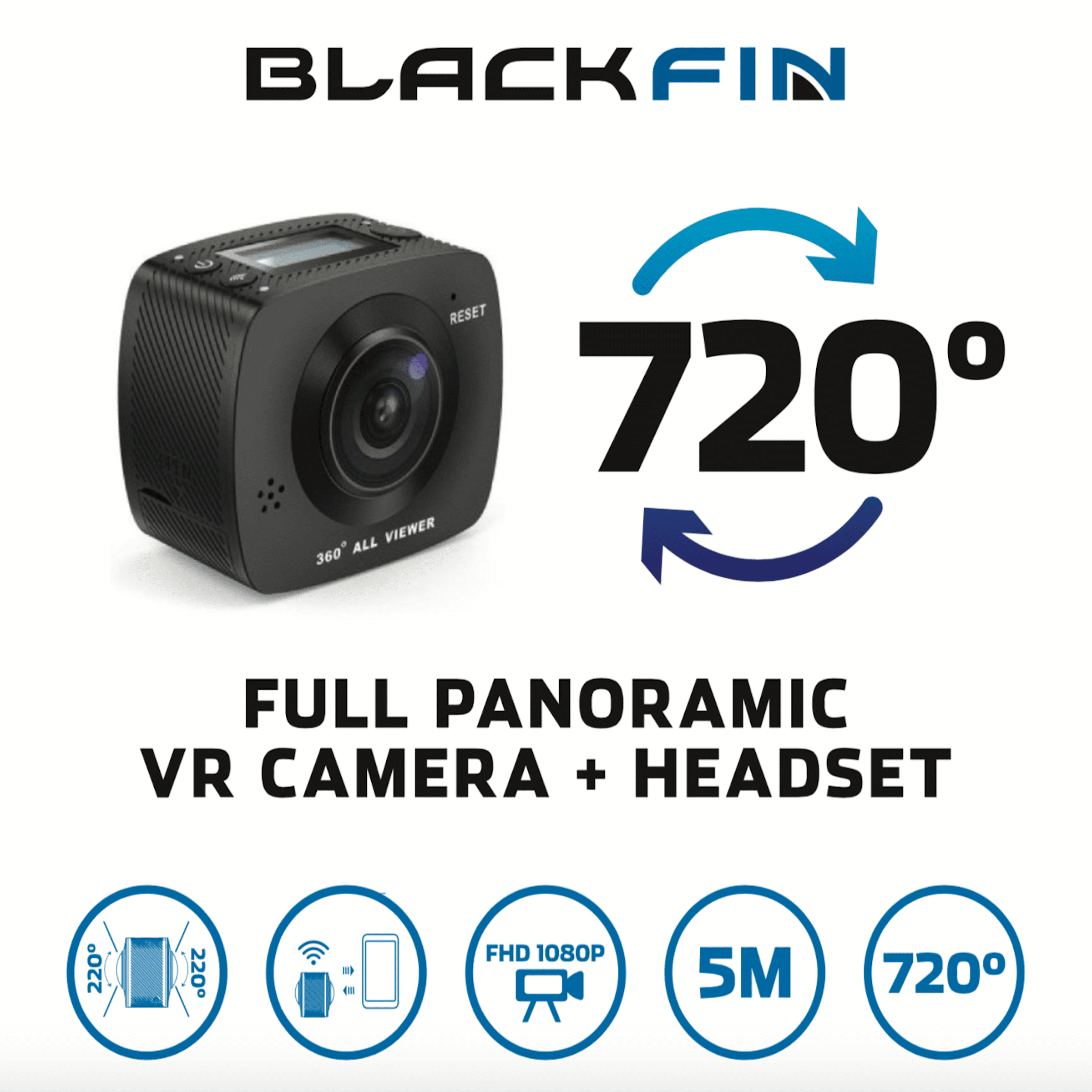 720 VR ACTION CAMERA & HEADSET by Black Fin® - Walmart com