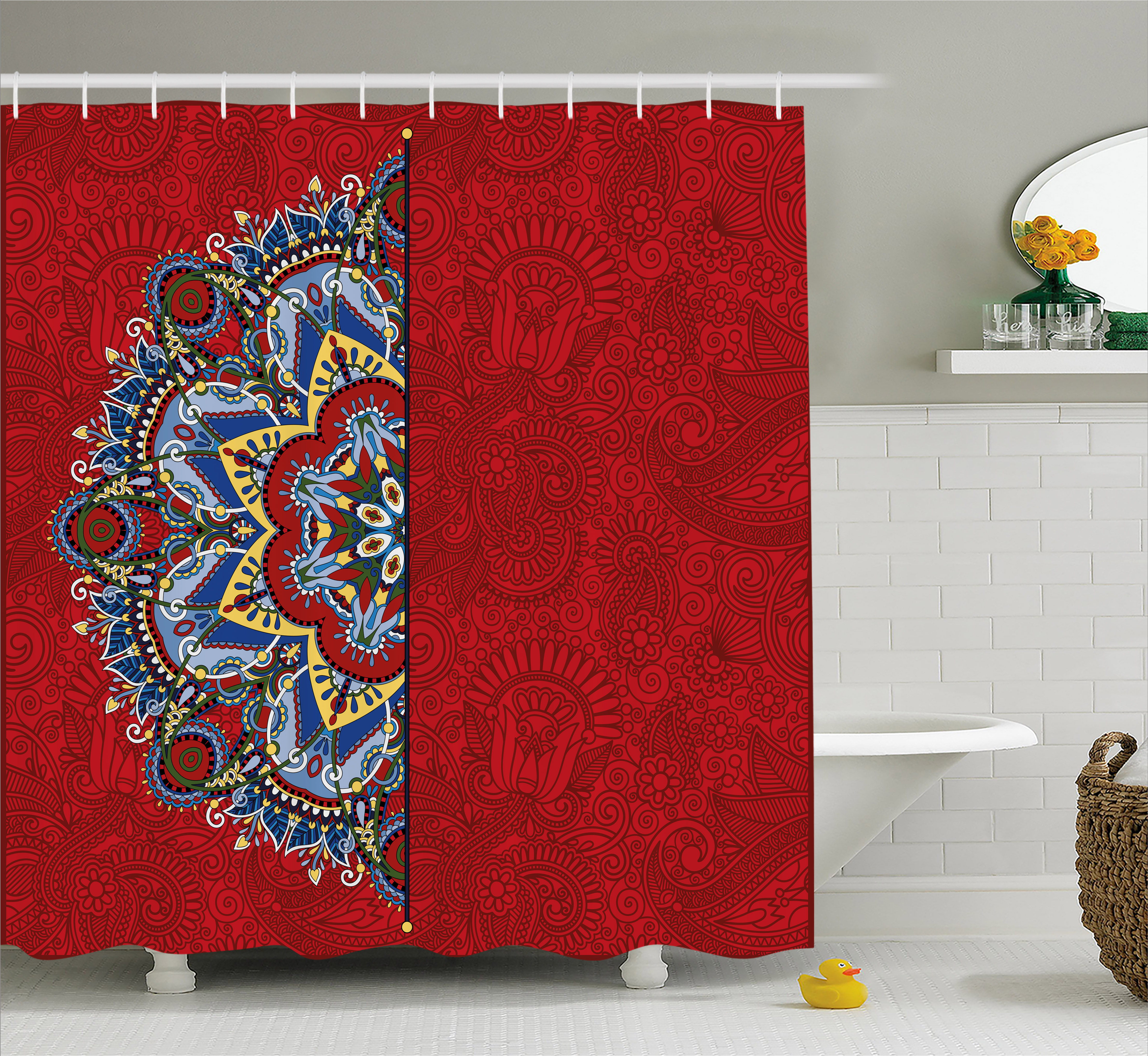 Red Mandala Shower Curtain, Ukranian Ethnic Design Half Mandala with Swirls and Flowers Image, Fabric Bathroom Set with Hooks, 69W X 70L Inches, Burngundy Blue and White, by Ambesonne