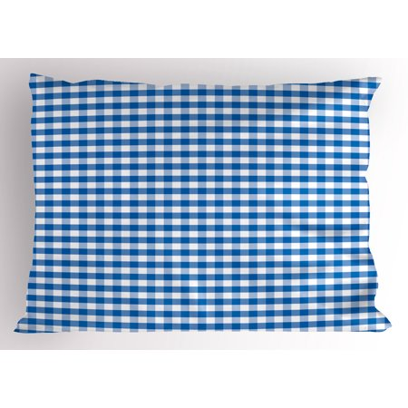 Checkered Pillow Sham Monochrome Gingham Checks Classical Country Culture Old Fashioned Grid Design, Decorative Standard Size Printed Pillowcase, 26 X 20 Inches, Blue White, by Ambesonne