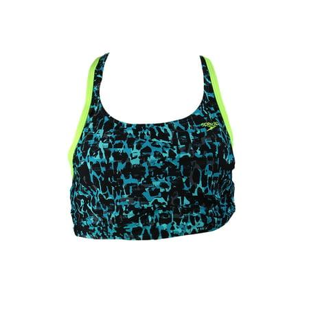 Speedo Green Printed Elite Endurance Lite Cropped Active Bikini Top 12