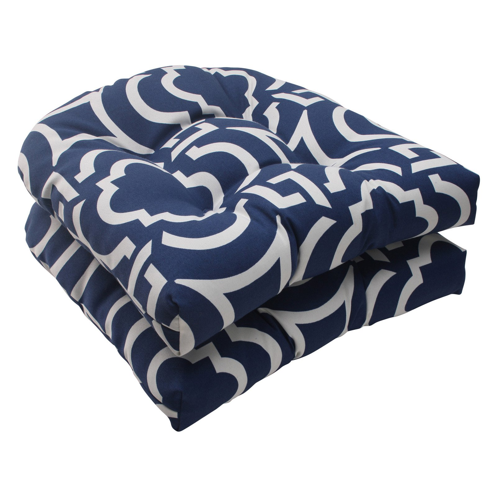Pillow Perfect Outdoor/ Indoor Carmody Navy Wicker Seat Cushion (Set of 2)