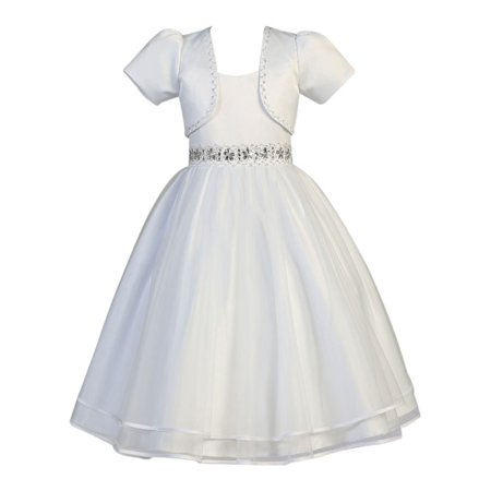 Girls White Satin Organza Beaded Bolero Communion Dress - Communion Dress Sale