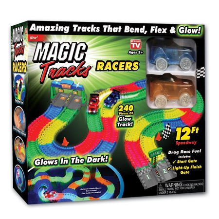 As Seen on TV Magic Tracks Racer Set with track, light-up gates, traffic cones, and 2 race cars - 240pc
