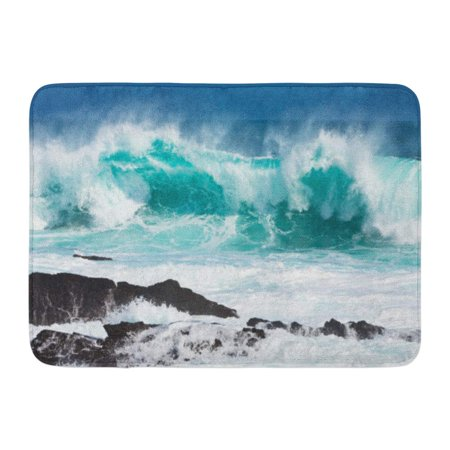 GODPOK Crash Green Sea Turquoise Rolling Wave Slamming on The Rocks of Coastline Blue Ocean Big Rug Doormat Bath Mat 23.6x15.7 inch