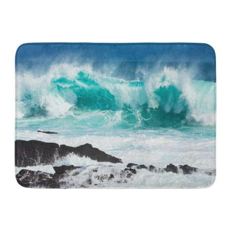 GODPOK Crash Green Sea Turquoise Rolling Wave Slamming on The Rocks of Coastline Blue Ocean Big Rug Doormat Bath Mat 23.6x15.7 inch (Light Blue Rock)