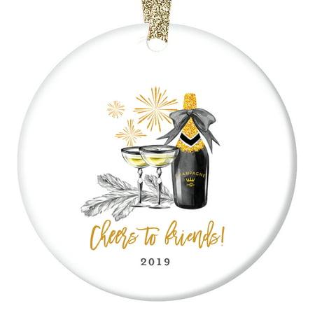 Cheers to Friends! Best Friend Christmas Ornament 2019, Champagne Toast to Favorite Gals Ladies BFF Bestie Gift Present Ceramic Present 3
