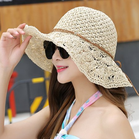 a260d97a0 Smartoo LLC - Women Floppy Hat Hollow UV Protection Portable Straw ...