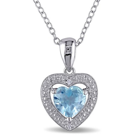 1 Carat T.G.W. Blue Topaz and Diamond Accent Sky Heart Pendant in Sterling Silver, 18 Cut Citrine Heart Pendant