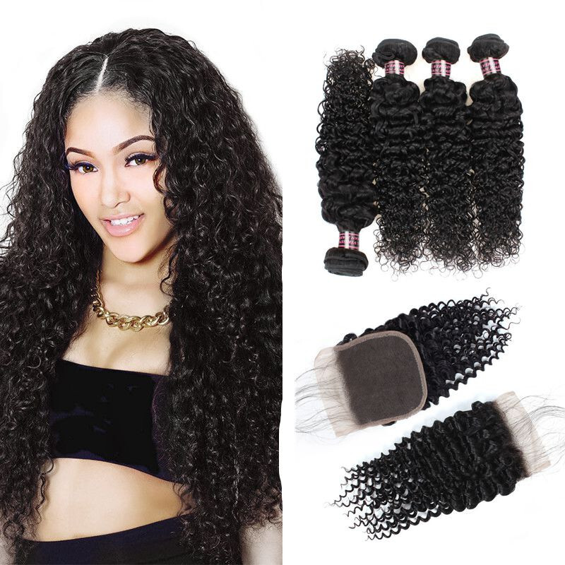 "Ishow 7A Brazilian Kinky Curly Virgin Hair with Closure Human Hair 4 Bundles, 8""8""10""10"" with 8"""