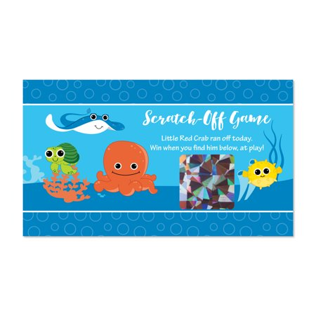 Under The Sea Critters - Baby Shower or Birthday Party Game Scratch Off Cards - 22 Count